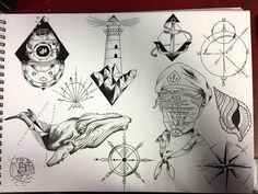 Nautical flash sheet all done :) #tattoo #tattoos #tattooer #tattooart…