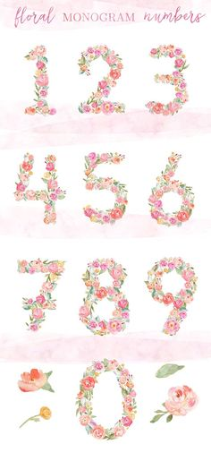Watercolor Monogram Numbers by Angie Makes on @creativemarket