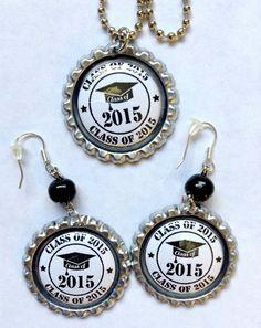 Class of 2015 Bottle Cap Necklace Earring Set