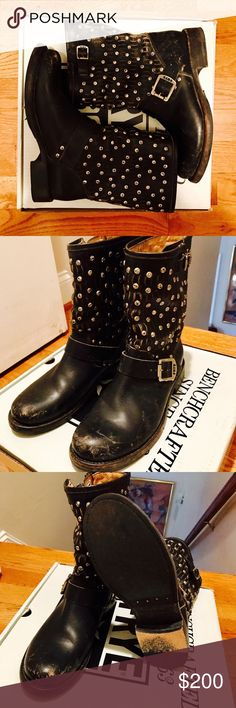 Frye Jenna Cut Stud Short in Black Studded Frye boots - extremely comfortable and well made. Too small for me! Make an offer! Frye Shoes Ankle Boots & Booties