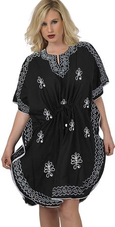 5d337c20a58 La Leela Designer Rayon Hand Embroidered Black Tunic Beach Swim Cover Up  Caftan -- See