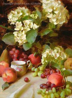 Hydrangeas and Grapes - Oil by Daniel J. Keys