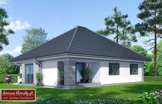 Projekt domu Lupo II , wizualizacja 2 House Exterior Color Schemes, Exterior Colors, Panorama 360, Modern Family House, House Entrance, Home Fashion, Ground Floor, Bungalow, Ideal Home