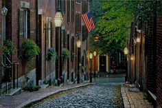 Old Glory cityscape oil painting giclee on canvas by Rod Chase - Great Places, Places To See, Beautiful Places, Beautiful Streets, Amazing Places, Amalfi, Beacon Hill Boston, New York Street, Walking Tour