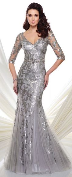 Sequin trumpet dress with illusion 3/4 sleeve, V-neckline, hand-beaded natural waistline, keyhole back, sweep train.