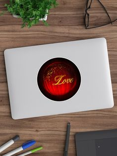 'A Red Glowing Ball Of Love' Sticker by Roanemermaid Love Stickers, Laptop Stickers, Decorative Stickers, Gold Sparkle, Sticker Design, Black Backgrounds, Beautiful Flowers, Glow, Valentines