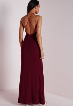 Slinky Side Split Maxi Dress Burgundy - Dresses - Maxi Dresses - Missguided