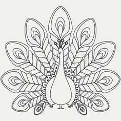 Peacock Line Drawing | Vector of 'Peacock on a tree branch full of flowers of hibiscus Black ...