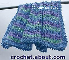 Striped lace crochet blanket. Free pattern on ravelry.* ༺✿ƬⱤღ  http://www.pinterest.com/teretegui/✿༻