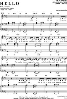 Hello (Klavier Begleitung + Gesang) Adele [PDF Noten] >>> KLICK auf die Noten um Reinzuhören <<< Noten und Playback zum Download für verschiedene Instrumente bei notendownload Blockflöte, Querflöte, Gesang, Keyboard, Klavier, Klarinette, Saxophon, Trompete, Posaune, Violine, Violoncello, E-Bass, und andere ...