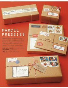 Pacchetti regalo stile pacco postale