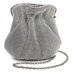 TEVOLIO™ Bead Metal Pouch Handbag with Strap - Silver