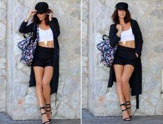 miau´s life, miauslife, todays, outfit, muotiblogi, fashionblog, kipparihattu, reppu, viitta, crop top, shortsit,