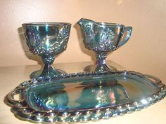 Indiana Blue Carnival Glass Creamer Sugar Tray Grape Vintage | eBay