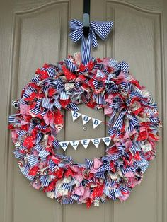 Rag wreaths are a timeless craft. Try giving yours a refreshing update with a mini bunting strung in the middle.