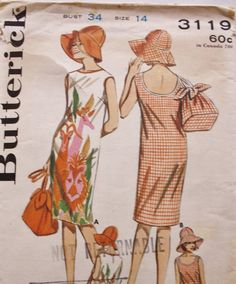 Vintage 1960s Butterick 3119 Beachdress by BluetreeSewingStudio