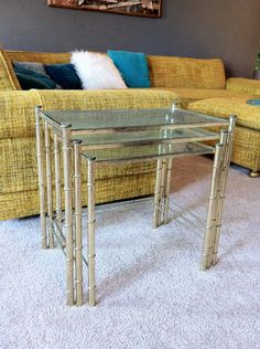 Faux Bamboo Brass and Glass Top Nesting Tables by rudolph130a