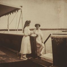 Olga and Maria aboard the imperial yacht Standart c. 1912. by historyofromanovs
