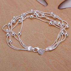 2014 New Arrivel Free Shipping Silver plated Cuff Chain Charm Five lines light bead Bracelet Jewelry Bracelet SMTH234