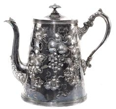 Antique Victorian Silverplated Coffee Pot Chased Leaves & Repousse Grapes | Antiques, Silver, Silverplate | eBay!