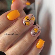 Spring Nail Art, Spring Nails, Love Nails, Fun Nails, Yellow Nail Art, Seasonal Nails, Heart Nails, Super Nails, Creative Nails