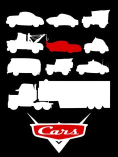 Pixar minimalist poster by Citron Vert, via Behance Disney Style, Disney Love, Disney Art, Disney Magic, Disney Cars Party, Disney Pixar Cars, Mcqueen, Car Silhouette, Disney Movie Posters