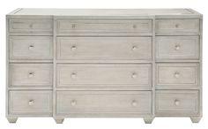 Citeria Dresser | Bernhardt 363-052C W 68 D 20 H 39 Heather Gray Finish 12 drawers #LongDresser #6Foot #Showroom