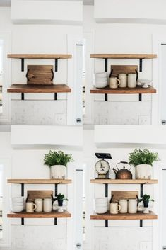 How to Style Open Shelving in Six Easy Steps. Styling open shelving doesn't have to complicated. Follow these simple steps for the shelves in your home. #kitchen #openshelving #diy