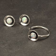 Opal Ring Silver opal ring Modern Opal Ring with by Artulia, $48.00