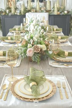 Elegant Green and Gold Christmas Tablescape - Home with Holl.- Elegant Green and Gold Christmas Tablescape – Home with Holliday - Christmas Dining Table, Christmas Table Settings, Christmas Tablescapes, Christmas Table Decorations, Decoration Table, Holiday Decor, Table Centerpieces, Lollipop Decorations, Holiday Tables