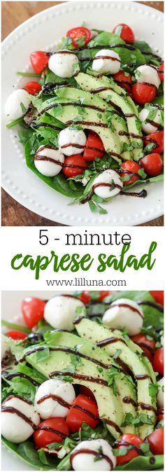 Quick and simple Caprese Salad - an easy and delicious salad filled with salad, mozzarella, tomatoes, avocados and balsamic glaze!