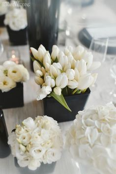 Anyone whose a fan of clean, crisp lines and sharp contrast can set aside their planners now. This black and white wedding theme is everything you can. Tulip Wedding, White Wedding Bouquets, Wedding Colors, Wedding Themes, White Weddings, Wedding Ideas, Indian Weddings, Gold Wedding, Wedding Styles