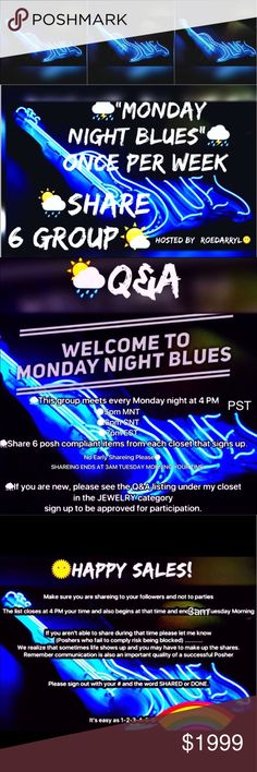 🎷SIGN IN SHEET MONDAY APRIL 24🎼 IF YOU ARE NEW PLEASE SEE Q&A SHEET UNDER THE JEWELRY CATEGORY Jewelry