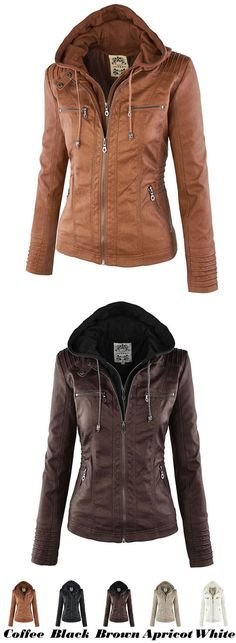 Fashion Fall Winter Faux Leather Detachable Fake Two-piece Hood Zipper Jackets Coat Leather Women's Winter PU Leather Jacket for big sale! #PU #leather #Jacket #winter #coat #women