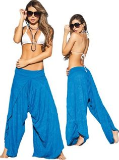 Amazon.com: Blue Wrap Style Low Rise Harem Pants: Clothing