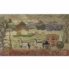 A Fine American Pictorial Hooked Rug: Coaching Scene with Mountains, Town, Flowers and Perched Owl | lot | Sotheby's