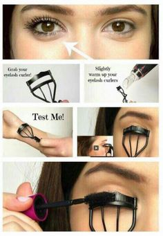 Curling your eyelashes with an eyelash curler while applying mascara at the same time helps keep them curled longer. #HowToApplyMascara Makeup Hacks Eyelashes, Curling Eyelashes, Fake Lashes, Longer Eyelashes, Long Lashes, Curl Lashes, Beauty Tips For Face, Diy Beauty, Beauty Makeup