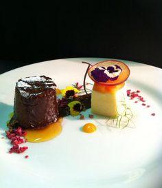 @robkennedy0 - Warm Chocolate pud' set custard' poached plums #feedyoureyes Sept/Oct