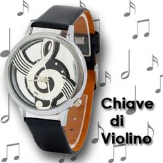 Watch for music enthusiasts with decoration of a treble clef inside the case.