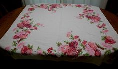 Vintage LEACOCK Chrysanthemums Tablecloth Red Pink Oatmeal Color Cloth