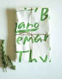 organic tea towel herbs by redcruiser