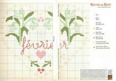 cross stitch hearts of the month birthday 02 of 12 February