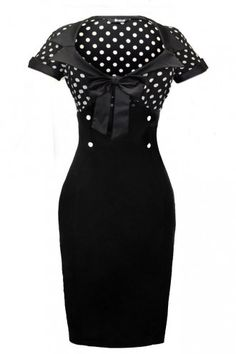 Lady Vintage Black Polka Dot Wiggle Dress : Jurken - Retro en Vintage kleding online   Looks Like Vintage