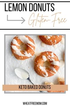 These delicious gluten-free, low carb and keto baked lemon donuts are a fun and easy treat to make. It is an easy recipe to make and a great low carb dessert. Keto Donuts, Gluten Free Donuts, Baked Donuts, Gluten Free Baking, Low Carb Desserts, Fun Desserts, Low Carb Recipes, Easy Treats To Make, Food To Make
