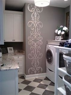 I'm wild' about the gray and white, I think the stencil really adds a nice touch to the laundry room but I'm thinking this would be nice in my bedroom.