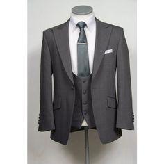 grey slim fit wedding suit hire scoop waistcoat  it has to be slim fit or it'll look like he's playing dressup..