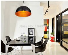 European Simple Stylish White/Black Loft semicircle Aluminum Lampshade Pendant Lights Lustres e Pendentes living bedroom dining