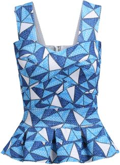 Blue Strap Geometric Print Ruffle Slim Top 17.00