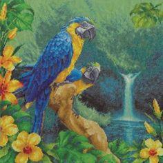 Counted-Cross-Stitch-Kit-The-Brazilian-FOREST-parrots-waterfall-BIRDS