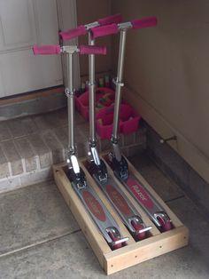 "Scooter Storage!  5min DIY. 4@24.5"", 2@15"", 8 nails. 3"" spaces. Genius!"